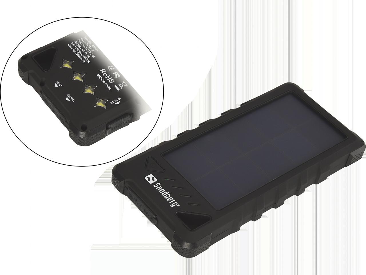 SANDBERG USB POWERBANK 16.000 OUTDOOR 420-35 16.000mAh/solar/waterproof/Li-ion 1