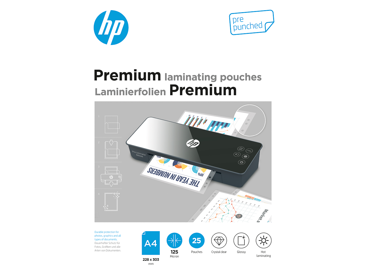 HP PREMIUM LAMINATING POUCHES A4 9122 25sheets 125mic with punching 1