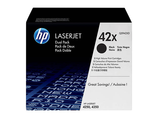 Q5942XD HP LJ4250 CARTRIDGE(2) BLACK HC HP42X 2x20.000pages high capacity 1