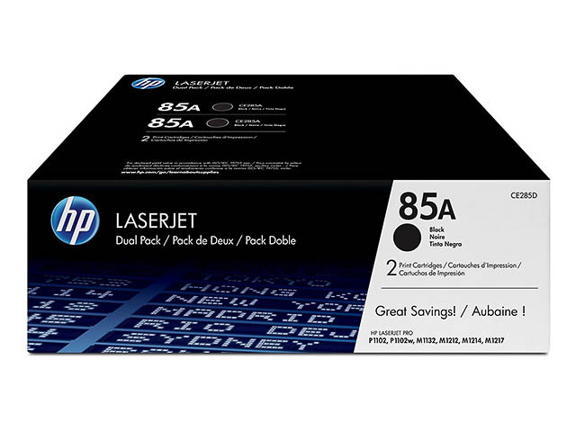 CE285AD HP LJ P1002 CARTRIDGE (2) BLACK HP85A 2x1600pages 1