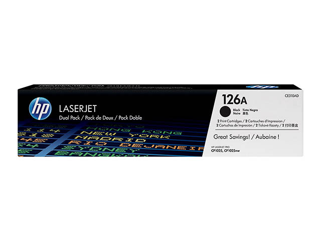 CE310AD HP CLJ CP1025 TONER (2) BLACK HP126A 2x1200pages 1