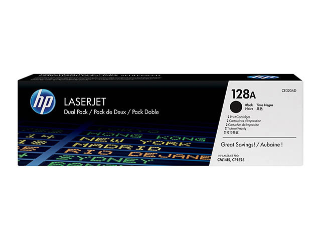 CE320AD HP CLJ CP1525N CARTRIDGE (2) BLK HP128A 2x2000pages 1