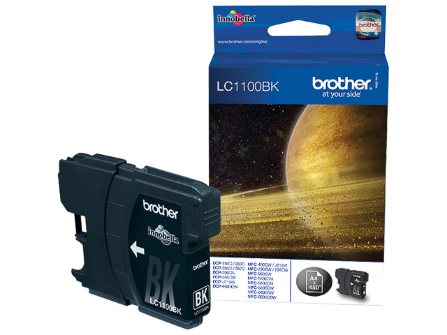 LC1100BK BROTHER MFC6490CW INK BLK ST 450pages standard capacity 1