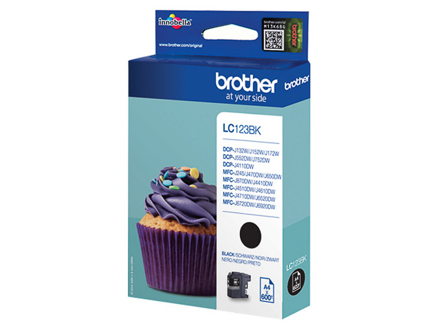 LC123BK BROTHER MFCJ4510DW INK BLK ST 600pages standard capacity 1