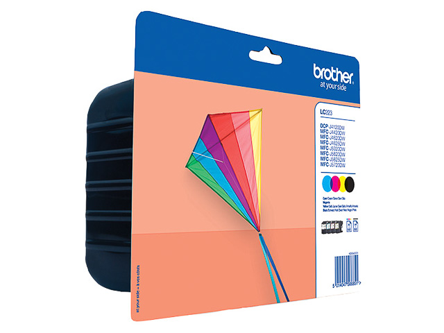 LC223VALBPDR BROTHER INK (4) CMYK 4x550pages blister 1