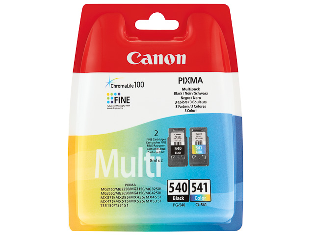 PG540B+CL541C CANON MG2150 INK (2) BK-CL 5225B006 multipack blister w/o sec 1