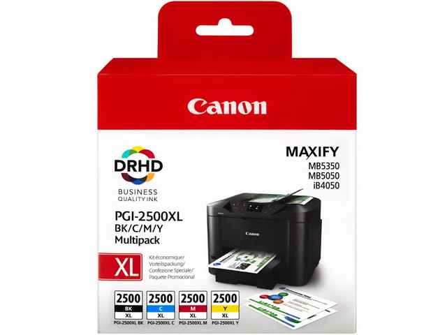 PGI2500XL CANON MB5050 INK (4) CMYK HC 9254B004 multi pack blister w/o sec 1