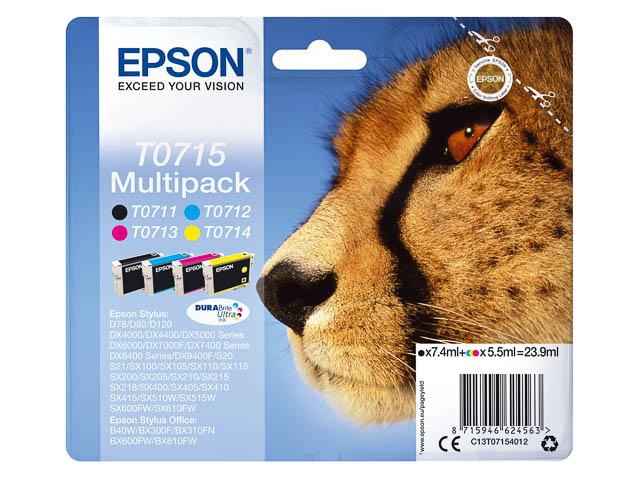 C13T07154012 EPSON DX4000 INK (4) CMYK 7,4ml black + 3x5,5ml cmy 1255pages 1