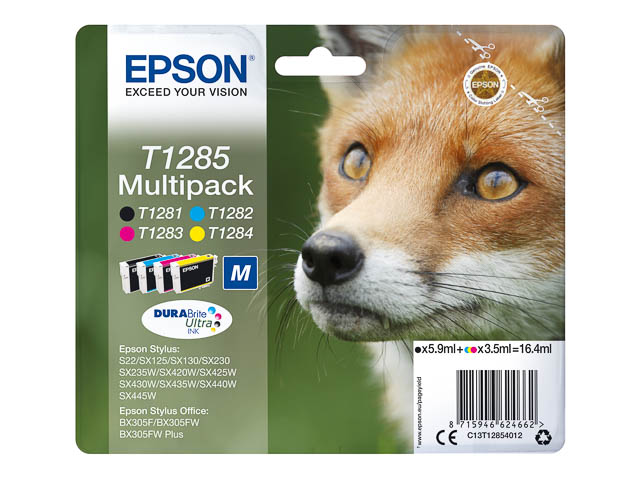 C13T12854012 EPSON BX305F TINTE (4) CMYK 5,9ml black + 3x3,5ml cmy 710pages 1