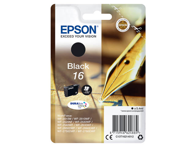 C13T16214012 EPSON WF2010 INK BLACK ST 5,4ml 175pages standard capacity 1