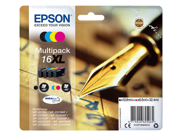 C13T16364012 EPSON WF2010 INK (4) CMYK 32,4ml 1850pages high capacity 1