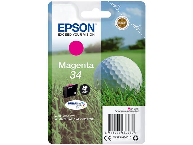 C13T34634010 EPSON WF3720DWF INK MA ST 4,2ml 300pages magenta standard cap. 1