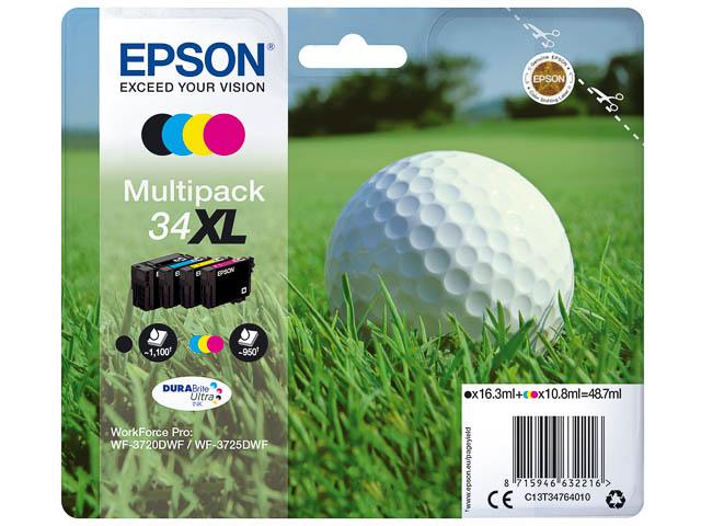C13T34764010 EPSON WF3720DWF INK (4) HC 1x16,3ml bk 3x10,8ml cmy high cap. 1