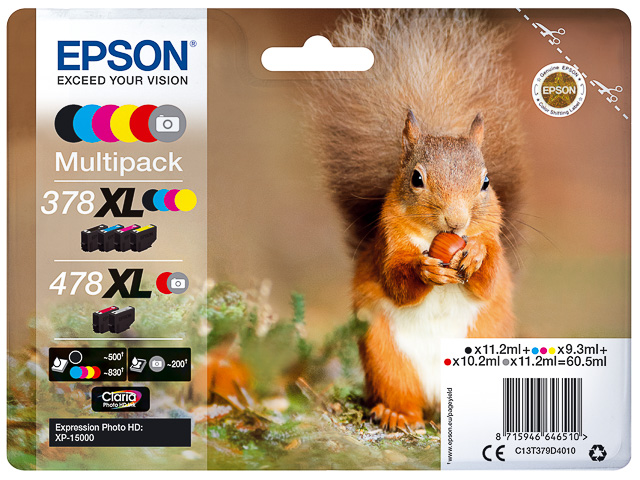 C13T379D4010 EPSON XP8500 INK (6) HC 60,5ml 378/478XL cmyk grey high cap 1