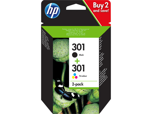 N9J72AE HP DJ1050 TINTE (2) BLACK+COLOR HP301 3ml black + 3ml color 1