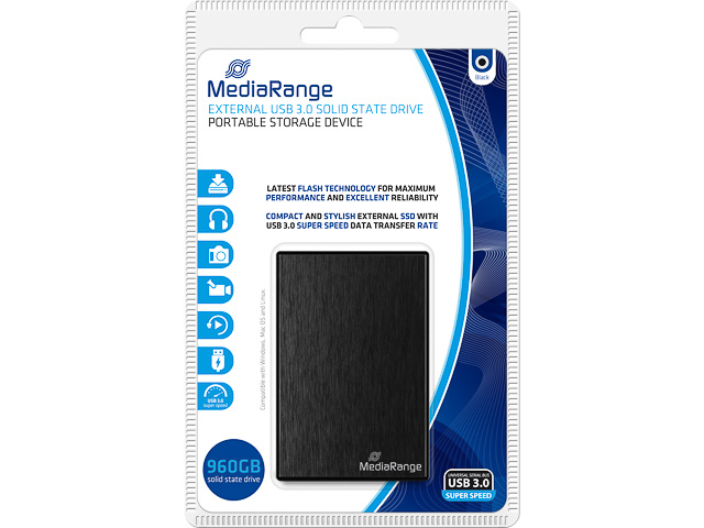 MEDIARANGE SSD DRIVE EXTERNAL 960GB MR993 USB 3.0 black 1