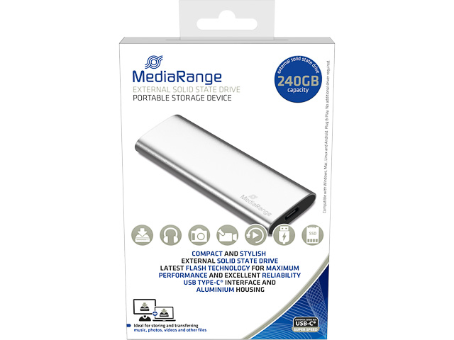MEDIARANGE SSD DRIVE EXTERNAL 240GB MR1101 USB type C silver 1
