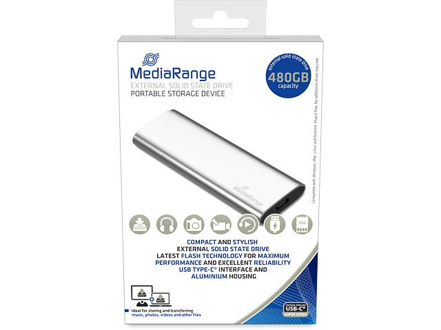 MEDIARANGE SSD DRIVE EXTERNAL 480GB MR1102 USB type C silver 1