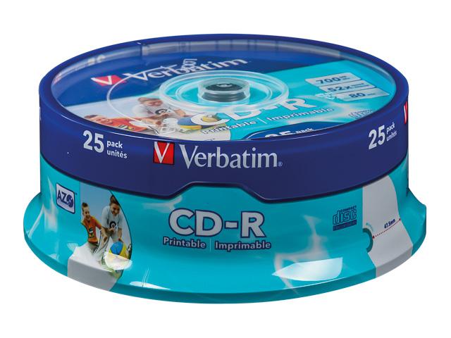 VERBATIM CDR80 700MB 52x (25) SP 43439 spindle inkjet printable ID 1