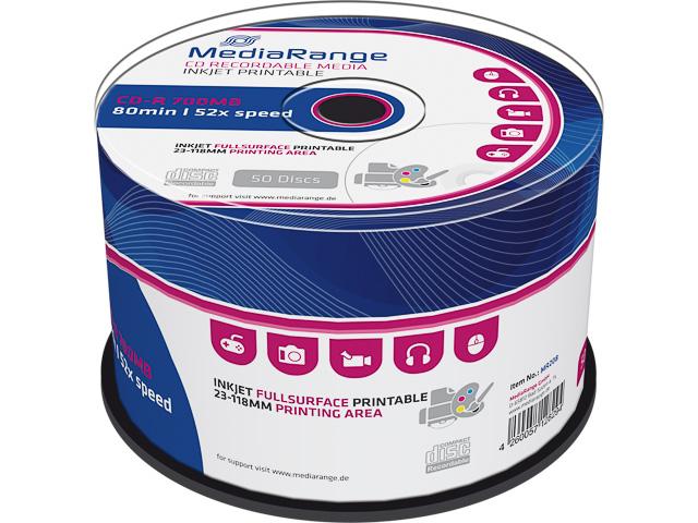 MEDIARANGE CDR80 700MB 52x (50) CB WHITE MR208 Cake Box inkjet printable 1