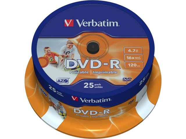 VERBATIM DVD-R 4.7GB 16x (25) SP 43538 spindle photo inkjet printable 1
