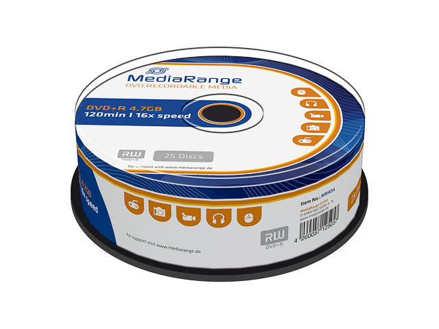 MEDIARANGE DVD+R 4.7GB 16x (25) CB MR404 Cake Box write once 1
