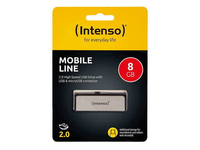 INTENSO MOBILE LINE USB DRIVE 8GB 3523460 20MB/s USB 2.0 silver 1