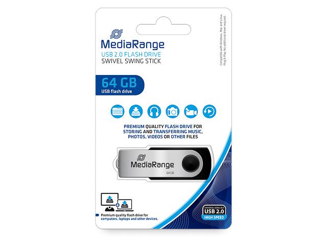 MEDIARANGE FLEXI FLASH DRIVE 64GB MR912 15MB/s USB 2.0 black-silver 1