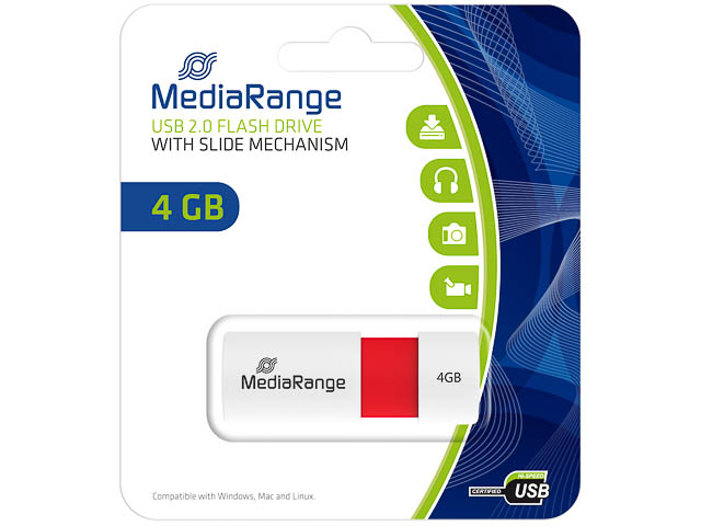 MEDIARANGE USB FLASH DRIVE 4GB RED MR970 slide mechanism 1