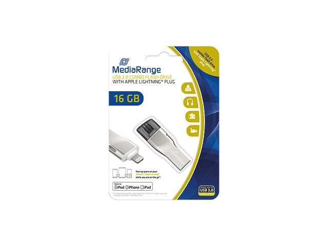 MEDIARANGE USB STICK 16GB MR981 90MB/s USB 3.0 silber 1