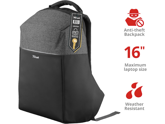 "TRUST NOX ANTI-THEFT BACKPACK 23083 for 16"" laptops 1"