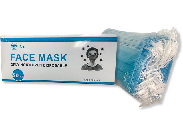 MUND-NASEN-MASKE (50) BLAU MNM-3BL 3lagig Vliesstoff non-medical 1