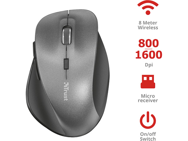 TRUST RAVAN MOUSE BLACK 22878 wireless RFID (410545440217