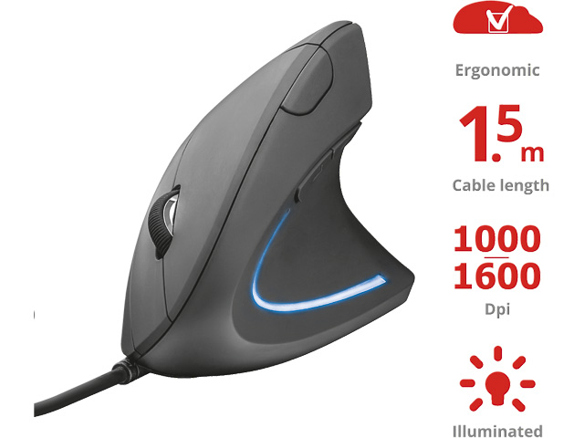 TRUST VERTO MOUSE BLACK 22885 with cable 1