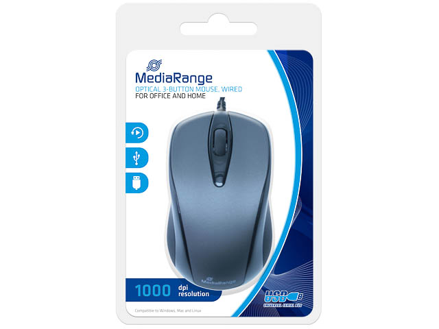 MEDIARANGE OPTICAL MOUSE WIRED MROS201 3button 1