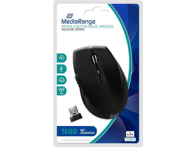 MEDIARANGE OPTICAL MOUSE WIRELESS MROS208 5button 1