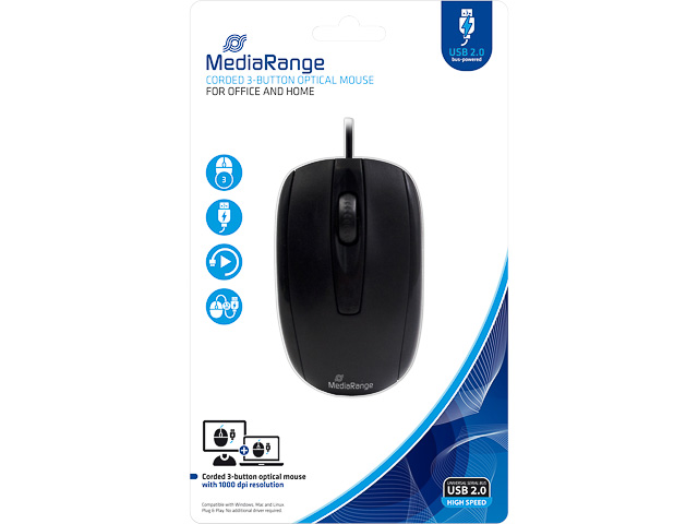 MEDIARANGE OPTICAL MOUSE WITH CABLE MROS211 3buttons black 1