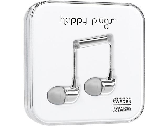 HAPPY PLUGS IN-EAR KOPFHOERER SILBER 7736 mit Kabel 3,5mm Stecker 1
