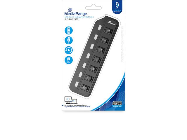 MEDIARANGE 7x USB 2.0 HUB MRCS504 Plug+Play 1