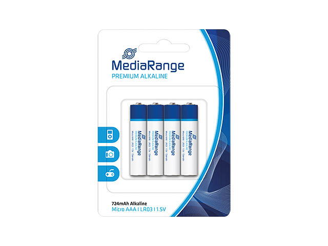 MEDIARANGE PREMIUM MICRO BATTERIES (4) MRBAT101 L03 Alkaline AAA 1,5V 1