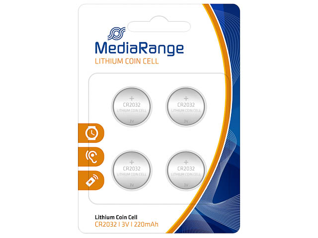 MEDIARANGE CR2032 BATTERIES (4) 3V MRBAT132 Lithium coin cells 1