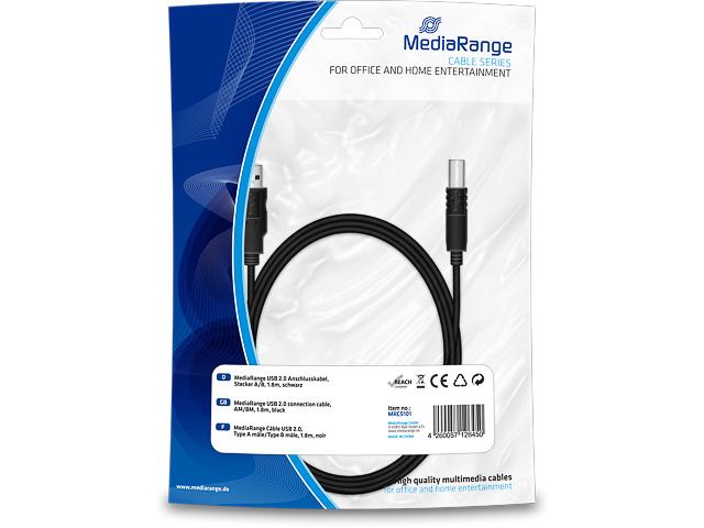 MEDIARANGE USB CABLE A/B 1,8m MRCS101 USB 2.0 black 1