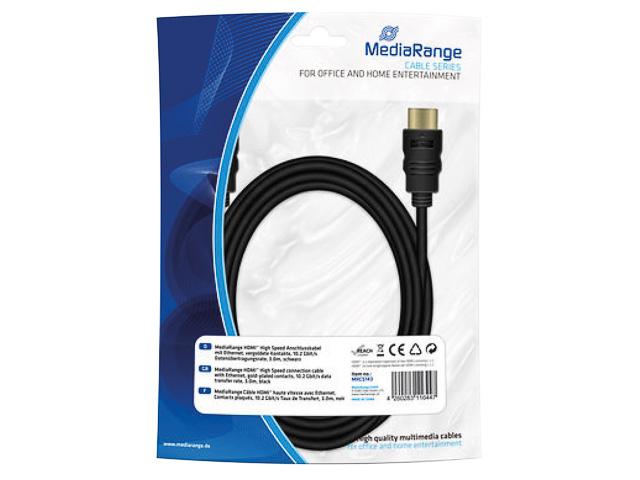 MEDIARANGE HDMI KABEL 3m MRCS143 Version 1.4 schwarz 1