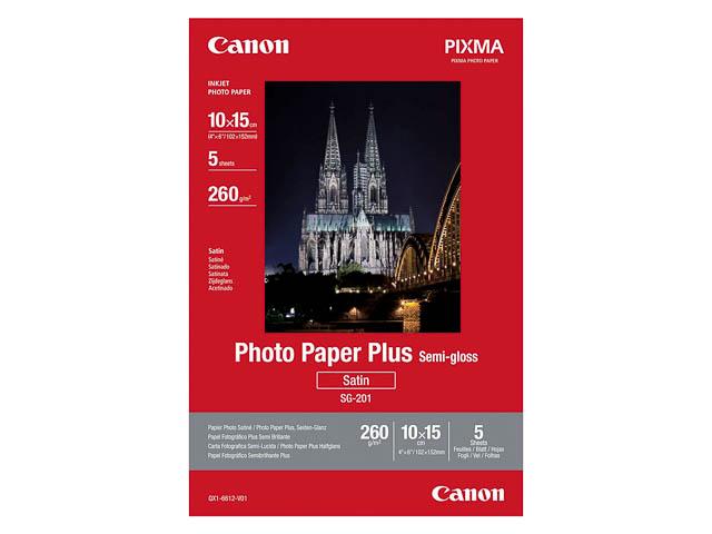 SG201 CANON PHOTO PAPER 10x15cm 1686B072 5sheets satin plus 1