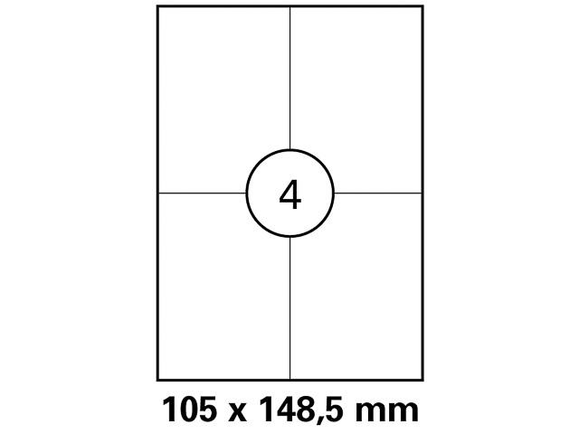 LASER ETIKETTEN 105x148,5mm A4 HEI024 100Blatt/400Etiketten weiss permanent 1