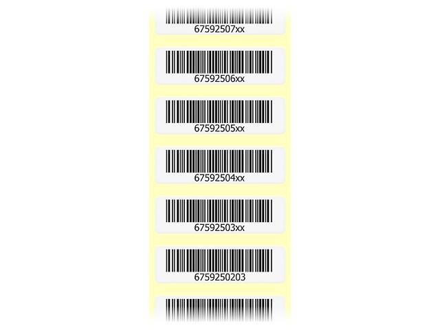 ETIKETTEN FUER ARCHIVIERUNG 50x15mm 2500Stk/Pkg. Barcode mit Klarschrift 1