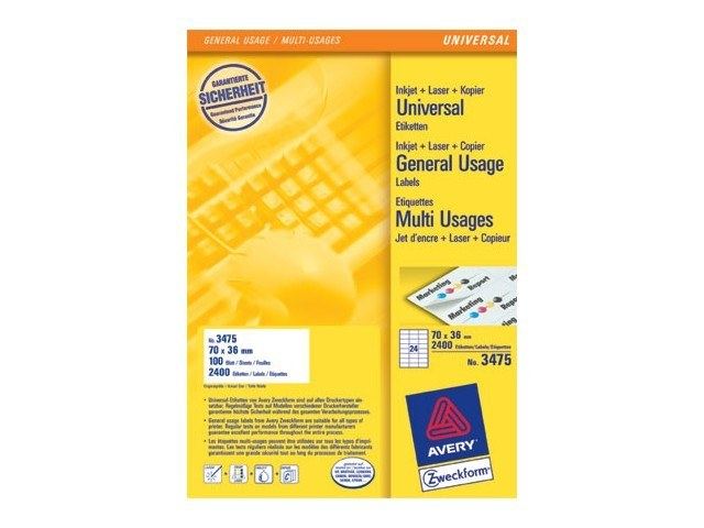 3475 ZWECKFORM ILK LABELS 70x36mm 2400pcs/100sheets universal white 1