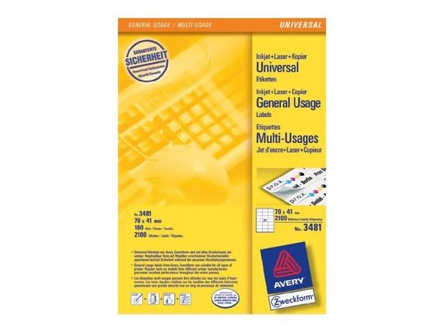 3481 ZWECKFORM ILK LABELS 70x41mm 2100pcs/100sheets universal white 1