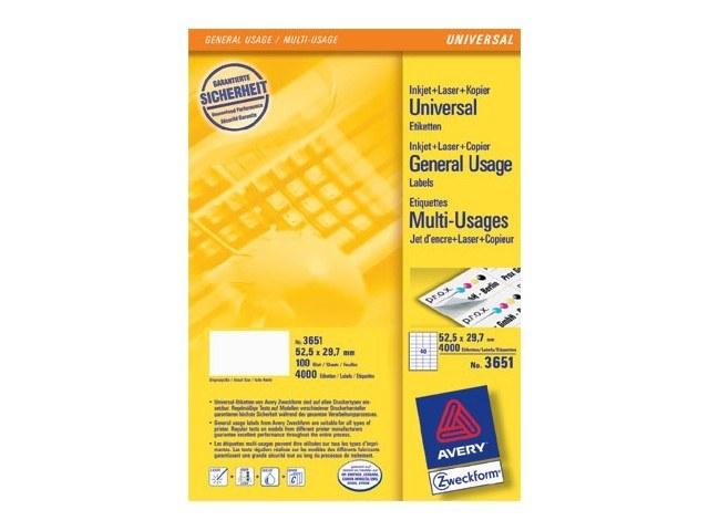 3651 ZWECKFORM ILK ETIKETTEN 52,5x29,7mm 4000Stk/100Blatt universal weiss 1