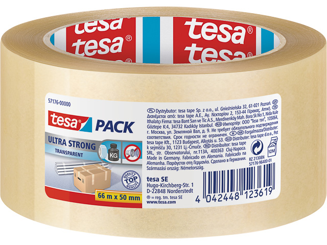 TESAPACK PVC PACKING TAPE CLEAR 57176-00000-08 66mx50mm ultra strong 1